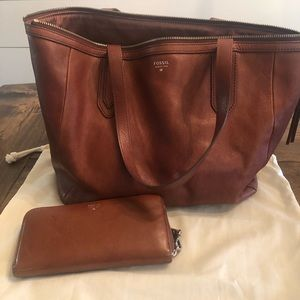 Fossil leather Sydney shopper tote and wallet